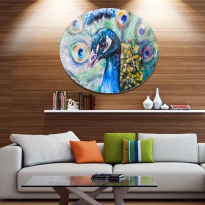 Designart Beautiful Peacock Watercolor Ultra Vibrant Abstract Metal Circle Wall Art