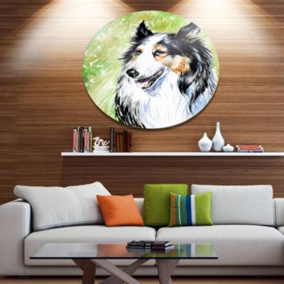Designart Black Collie Dog Watercolor Ultra Vibrant Animal Metal Circle Wall Art