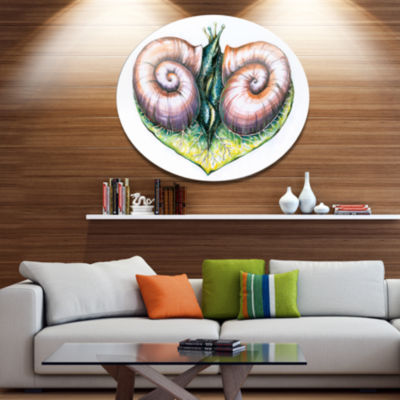 Designart Heart with Two Snails in Love Ultra Vibrant Animal Metal Circle Wall Art