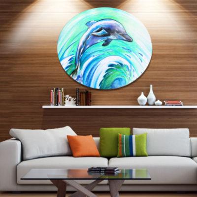 Designart Jumping Dolphin Watercolor Ultra VibrantAnimal Metal Circle Wall Art