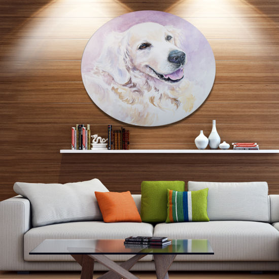Designart Funny Golden Retriever Ultra Vibrant Animal Metal Circle Wall Art