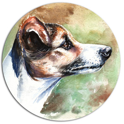 Designart Jack Russell Terrier Ultra Vibrant Animal Metal Circle Wall Art