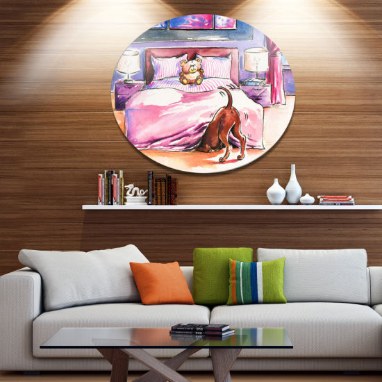 Designart Brown Dog in Bedroom Ultra Vibrant Animal Metal Circle Wall Art