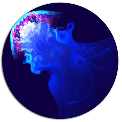Designart Blue Jellyfish in Ocean Ultra Vibrant Animal Metal Circle Wall Art