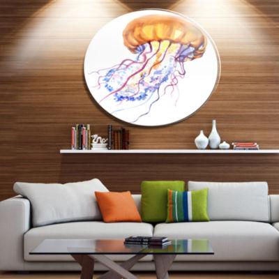 Designart Orange Ocean Water Jellyfish Ultra Vibrant Animal Metal Circle Wall Art