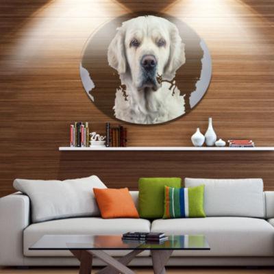 Designart Sad Looking Beautiful Dog Ultra VibrantAnimal Metal Circle Wall Art
