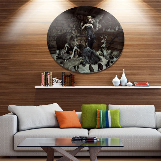 Designart Woman Among Wild Animals Ultra Vibrant Animal Metal Circle Wall Art
