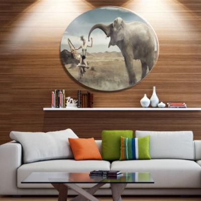 Designart Lady with Elephant Ultra Vibrant AnimalMetal Circle Wall Art