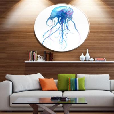 Designart Light Blue Jellyfish Watercolor Ultra Vibrant Animal Metal Circle Wall Art
