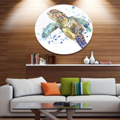 Designart Blue Sea Turtle Illustration Ultra Vibrant Animal Metal Circle Wall Art