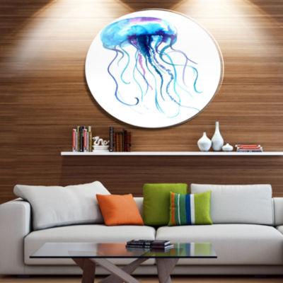 Designart Large Light Blue Jellyfish Ultra VibrantAnimal Metal Circle Wall Art
