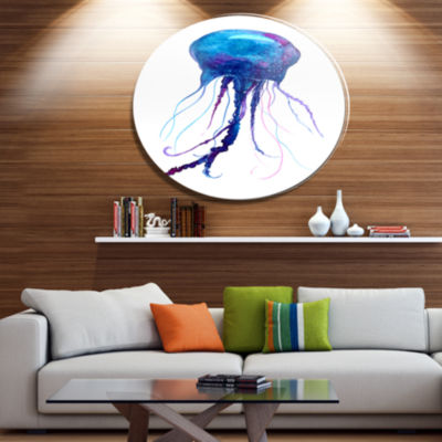 Designart Large Dark Blue Jellyfish Ultra VibrantAnimal Metal Circle Wall Art