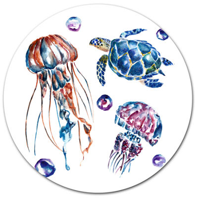 Designart Colorful Jellyfish and Turtles Ultra Vibrant Animal Metal Circle Wall Art