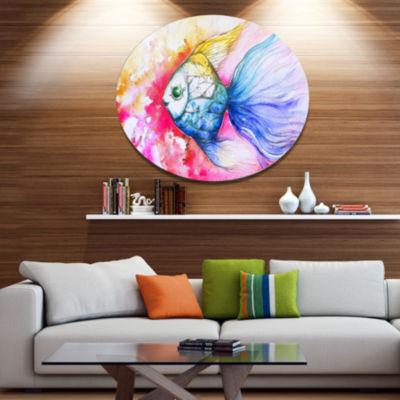 Designart Blue Fish on Red Background Ultra Vibrant Animal Metal Circle Wall Art