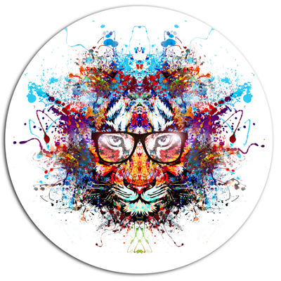 Designart Colorful Tiger in Glasses Ultra VibrantAnimal Metal Circle Wall Art