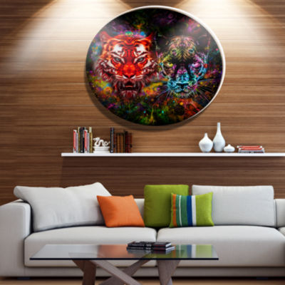 Designart Tiger and Panther with Splashes Ultra Vibrant Animal Metal Circle Wall Art