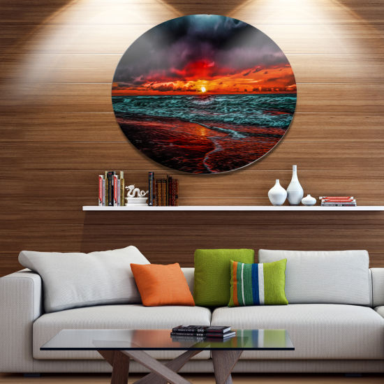 Designart Red Sunset over Blue Waters Ultra Vibrant Seascape Metal Circle Wall Art