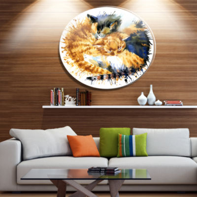 Designart Cute Kitten Graphical Illustration UltraVibrant Animal Metal Circle Wall Art