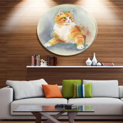 Designart Hand Drawn Watercolor Cat Ultra Glossy Animal Oversized Metal Circle Wall Art