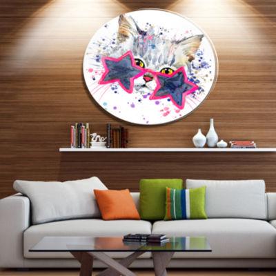 Designart Cute Kitten with Blue Stars Ultra GlossyAnimal Oversized Metal Circle Wall Art