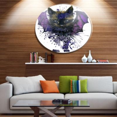 Designart Black Cat with Blue Wings Ultra Glossy Animal Oversized Metal Circle Wall Art