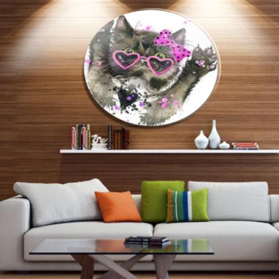 Designart Funny Black Cat Illustration Ultra Glossy Animal Oversized Metal Circle Wall Art