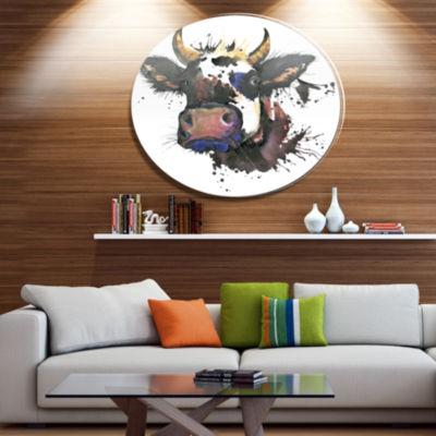 Designart Beautiful Cat Watercolor Graphic Ultra Glossy Animal Oversized Metal Circle Wall Art