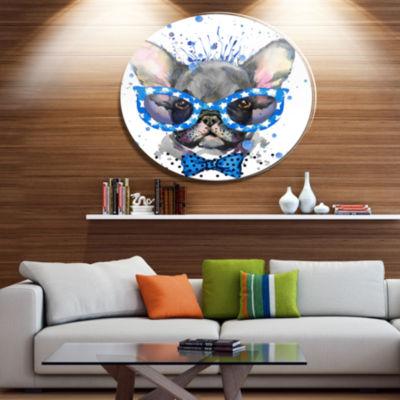 Designart Cute French Bulldog with Glasses Ultra Glossy Animal Oversized Metal Circle Wall Art