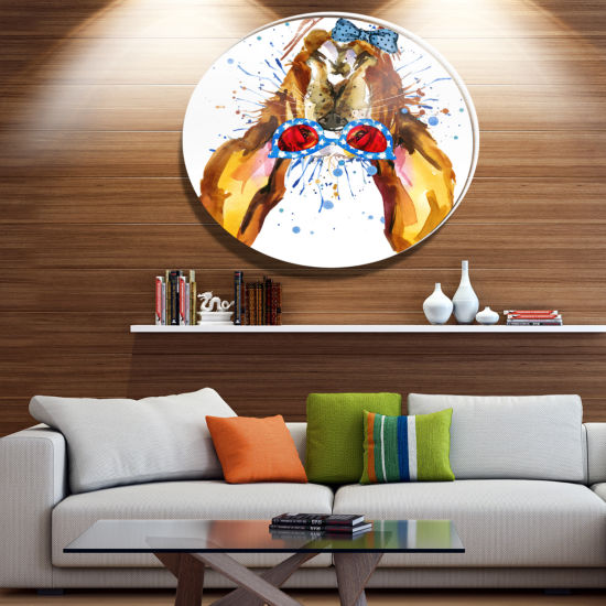 Designart Funny Brown Dog with Glasses Ultra Glossy Animal Oversized Metal Circle Wall Art