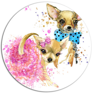 Designart Bridge and Groom Dog Illustration UltraGlossy Animal Oversized Metal Circle Wall Art