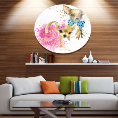 Designart Bridge and Groom Dog Illustration UltraGlossy Animal Oversized Metal Circle Wall Art