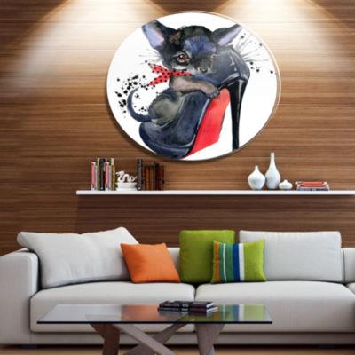 Designart Cute Dog over Large Heeled Shoe Ultra Glossy Animal Oversized Metal Circle Wall Art