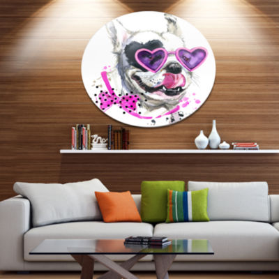 Designart Funny Dog with Heart Glasses Ultra Glossy Animal Oversized Metal Circle Wall Art