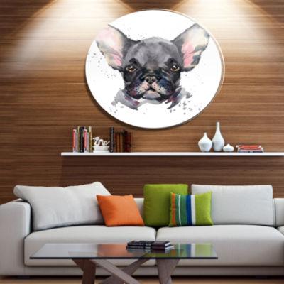 Designart Cute Watercolor Puppy Dog Ultra Glossy Animal Oversized Metal Circle Wall Art