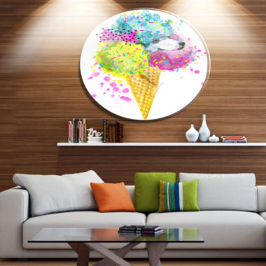 Designart Cute Colorful Puppy Dog Ultra Glossy Animal Oversized Metal Circle Wall Art