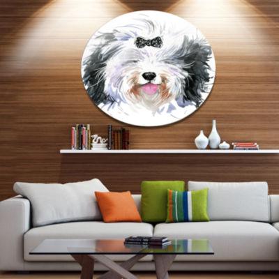 Designart Funny Dog Head Black White Ultra GlossyAnimal Oversized Metal Circle Wall Art