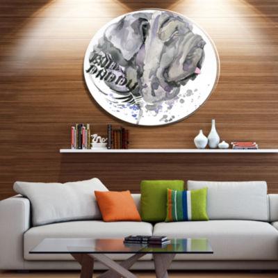 Designart Aggressive Gray Dog Watercolor Ultra Glossy Animal Oversized Metal Circle Wall Art