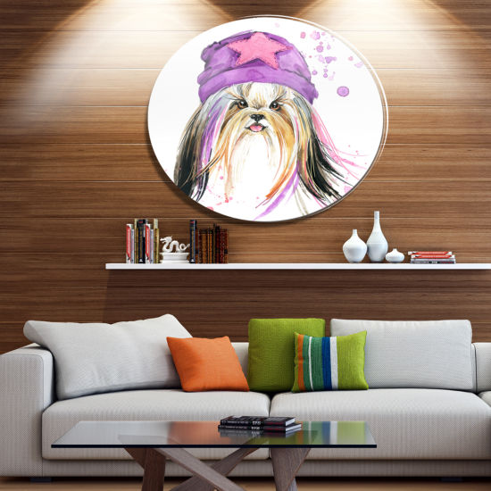 Designart Cute Dog with Starred Hat Ultra Glossy Animal Oversized Metal Circle Wall Art