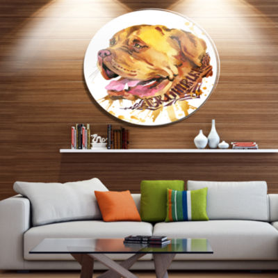 Designart Aggressive Brown Dog Watercolor Ultra Glossy Animal Oversized Metal Circle Wall Art
