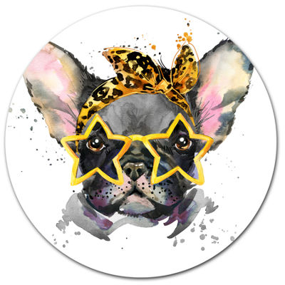 Designart French Bulldog with Star Glasses Ultra Glossy Animal Oversized Metal Circle Wall Art