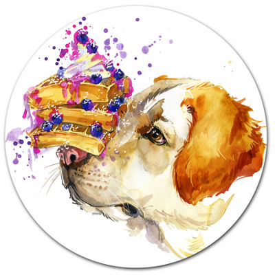 Designart Cute Labrador Dog Watercolor Ultra Glossy Animal Oversized Metal Circle Wall Art