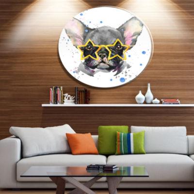 Designart Black French Bulldog with Stars Ultra Glossy Animal Oversized Metal Circle Wall Art