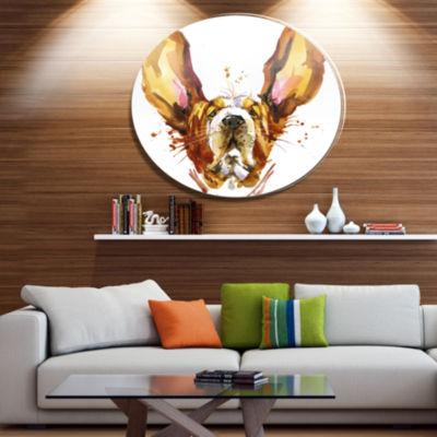 Designart Funny Brown Dog Basset Ultra Glossy Animal Oversized Metal Circle Wall Art