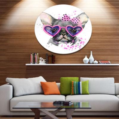 Designart Cute Dog with Pink Glasses Ultra GlossyAnimal Oversized Metal Circle Wall Art