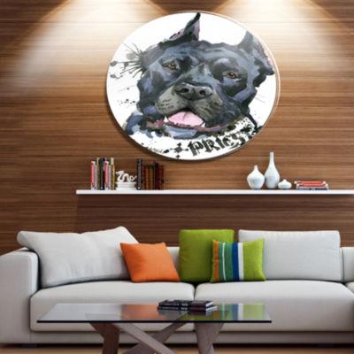 Designart Aggressive Black Dog Illustration UltraGlossy Animal Oversized Metal Circle Wall Art