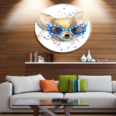 Designart Cute Puppy with Blue Glasses Ultra Glossy Animal Oversized Metal Circle Wall Art