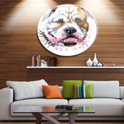 Designart Cute Dog with Open Mouth Ultra Glossy Animal Oversized Metal Circle Wall Art