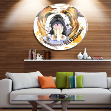 Designart Brown Aggressive Dog Head Ultra Glossy Animal Oversized Metal Circle Wall Art