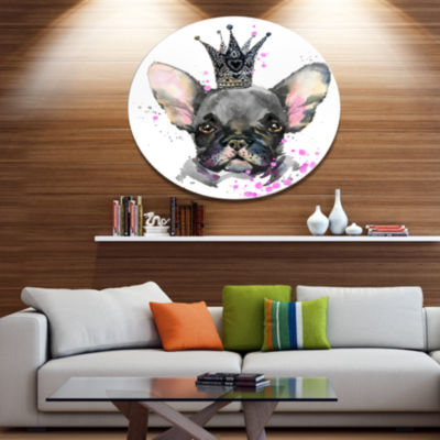Designart Cute Black Dog with Crown Ultra Glossy Animal Oversized Metal Circle Wall Art