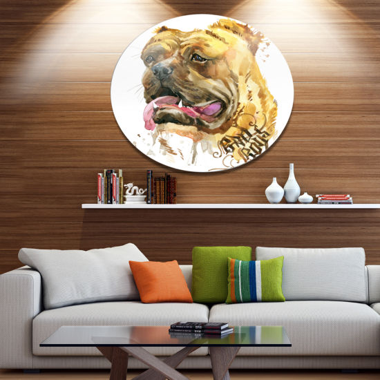 Designart Aggressive Funny Dog in Brown Ultra Glossy Animal Oversized Metal Circle Wall Art